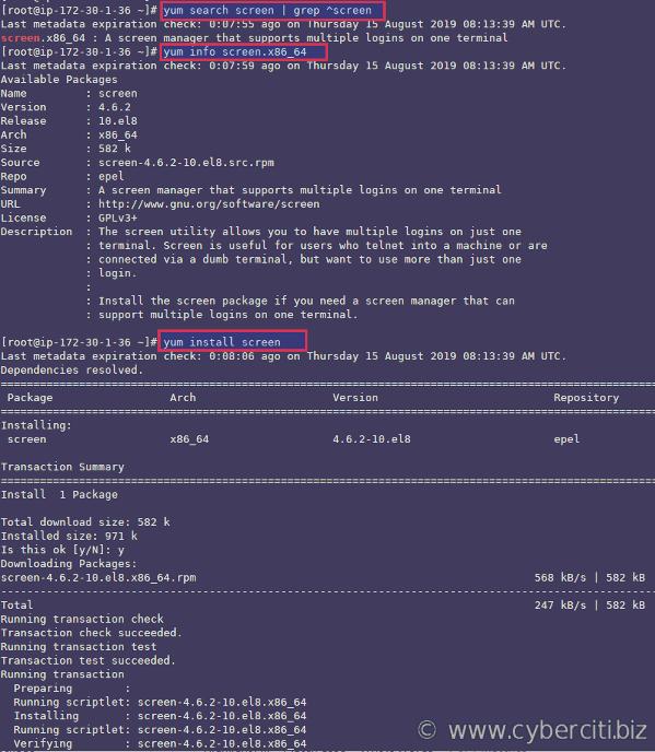 Instalación del paquete de pantalla en un RHEL 8 usando el comando epel repo