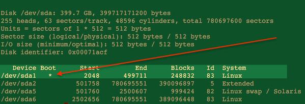 Figura 02: El comando fdisk de Linux muestra el nombre del dispositivo de arranque