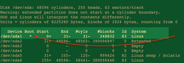 Fig.03: Linux use el comando sfdisk show boot device name