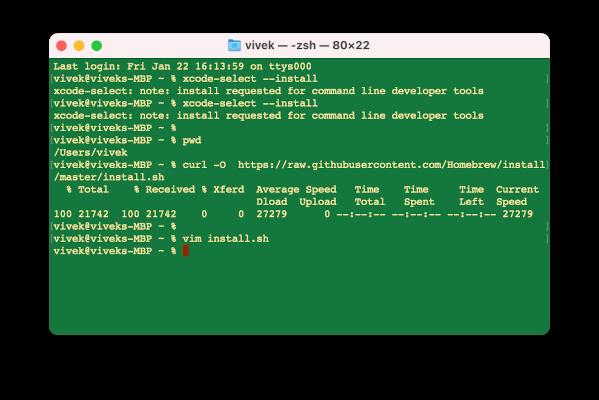 Descarga del instalador Homebrew en macOS usando el comando curl