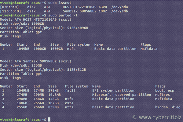 Comando Linux List Disk Partitions