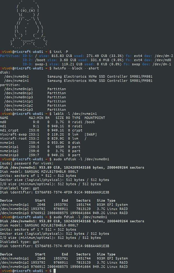 Visualización de pares y discos de Linux