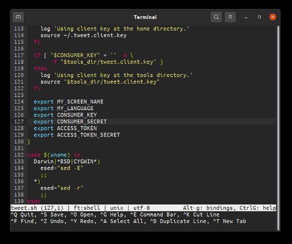 editores de micro texto para Linux