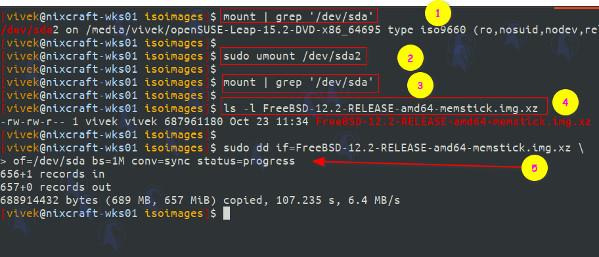 Linux escribe una imagen FreeBSD en un disco USB para la instalación usando dd