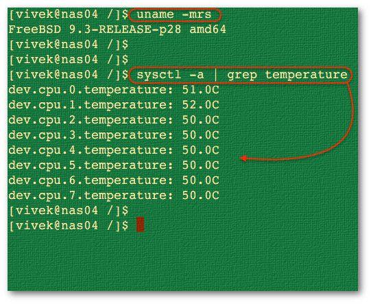 Figura 01: FreeBSD encuentra la temperatura de la CPU (procesador)