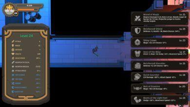 Pantalla de mazmorra de Ouroboros con inventario que incluye un cinturón de resistencia que solo amplifica la magia.