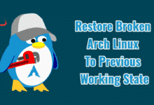 Restore Broken Arch Linux To Previous Working State